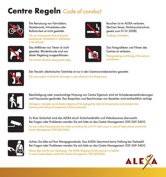 Center Regeln Code of Conduct